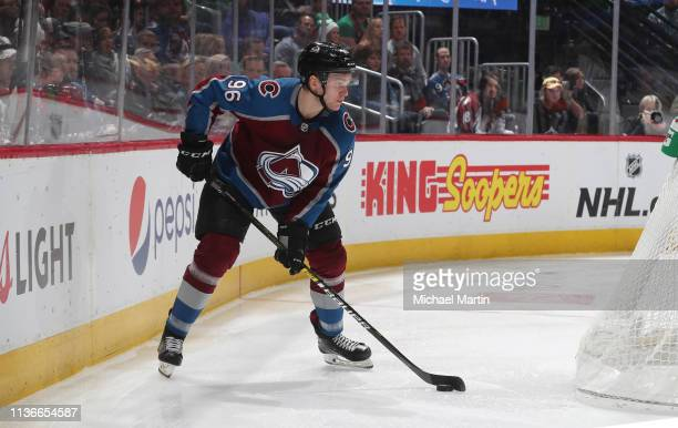 Mikko Rantanen of the Colorado Avalanche skates against the New Jersey Devils at the Pepsi Center on March 17 2019 in Denver Colorado The Avalanche...