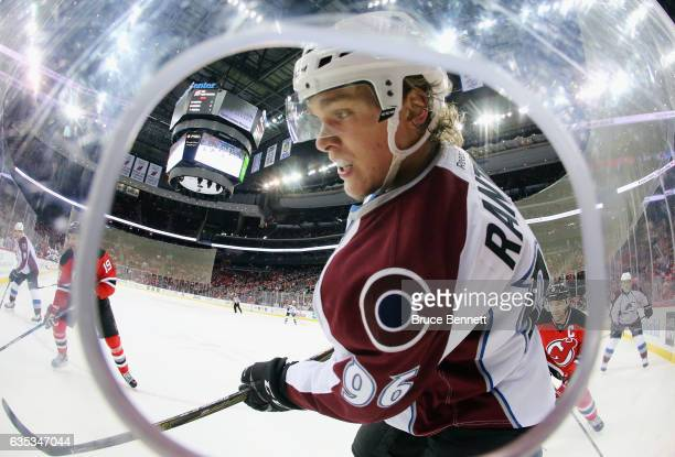 Mikko Rantanen of the Colorado Avalanche skates against the New Jersey Devils at the Prudential Center on February 14 2017 in Newark New Jersey The...