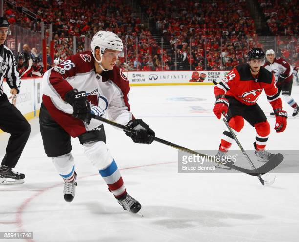Mikko Rantanen of the Colorado Avalanche skates against the New Jersey Devils at the Prudential Center on October 7 2017 in Newark New Jersey