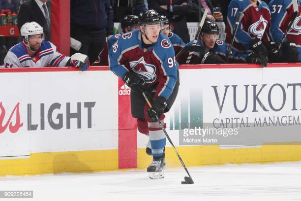 Mikko Rantanen of the Colorado Avalanche skates against the New York Rangers at the Pepsi Center on January 20 2018 in Denver Colorado The Avalanche...
