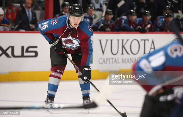 Mikko Rantanen of the Colorado Avalanche skates against the St Louis Blues at the Pepsi Center on March 21 2017 in Denver Colorado The Blues defeated...