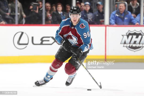 Mikko Rantanen of the Colorado Avalanche skates against the Vegas Golden Knights at the Pepsi Center on February 18 2019 in Denver Colorado n