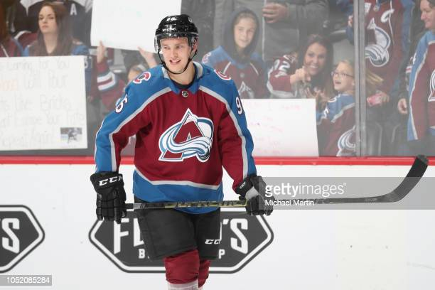 Mikko Rantanen of the Colorado Avalanche skates during warm ups prior to the game against the Calgary Flames at the Pepsi Center on October 13 2018...