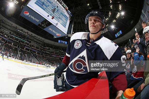 Mikko Rantanen of the Colorado Avalanche skates during warm ups prior to the game against the Minnesota Wild at the Pepsi Center on March 26 2016 in...