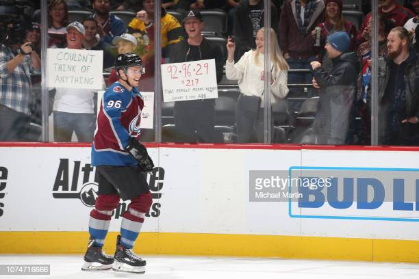 Mikko Rantanen of the Colorado Avalanche skates prior to the game against the Pittsburgh Penguins at the Pepsi Center on November 28 2018 in Denver...