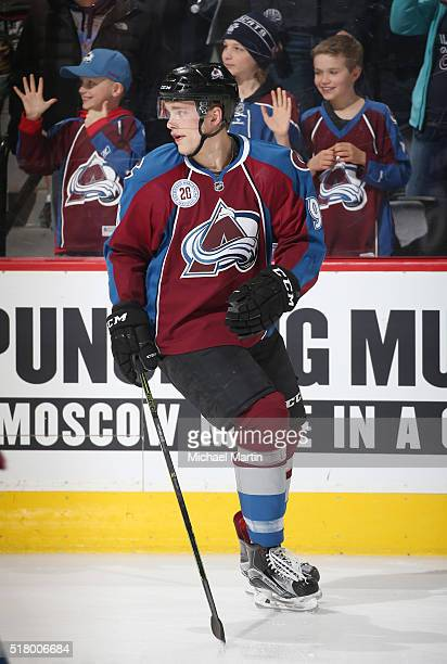 Mikko Rantanen of the Colorado Avalanche skates prior to the game against the Philadelphia Flyers at the Pepsi Center on March 24 2016 in Denver...