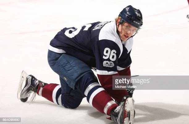 Mikko Rantanen of the Colorado Avalanche skates prior to the game against the St Louis Blues at the Pepsi Center on March 31 2017 in Denver Colorado...