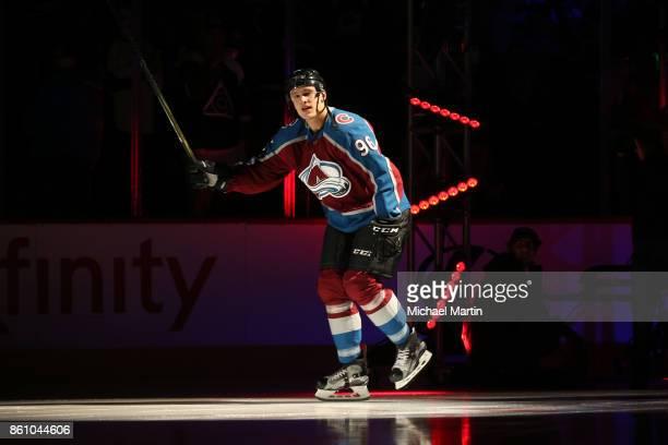 Mikko Rantanen of the Colorado Avalanche skates prior to the game against the Boston Bruins at the Pepsi Center on October 11 2017 in Denver Colorado...