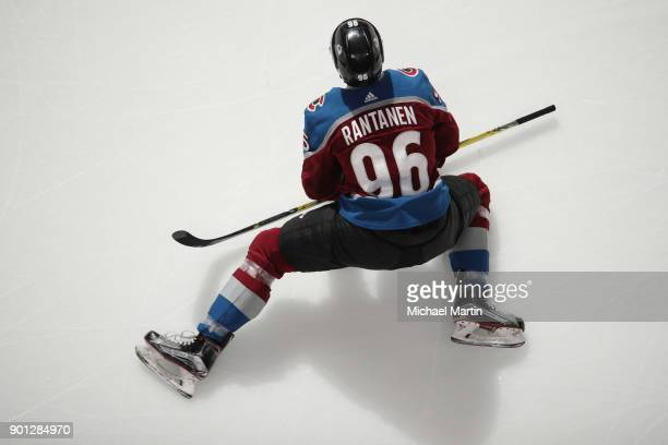 Mikko Rantanen of the Colorado Avalanche stretches during warm ups prior to the game against the Winnipeg Jets at the Pepsi Center on January 2 2018...