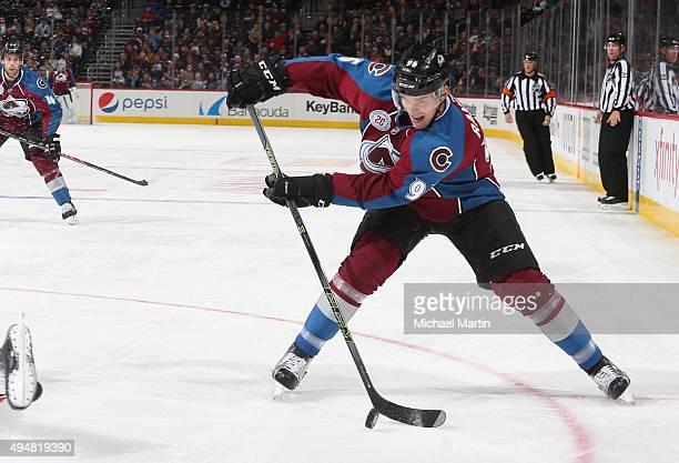 Mikko Rantanen of the Colorado Avalanche takes a shot on goal against the Carolina Hurricanes at the Pepsi Center on October 21 2015 in Denver...