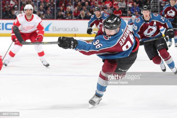 Mikko Rantanen of the Colorado Avalanche takes a slap shot against the Detroit Red Wings at the Pepsi Center on March 18 2018 in Denver Colorado
