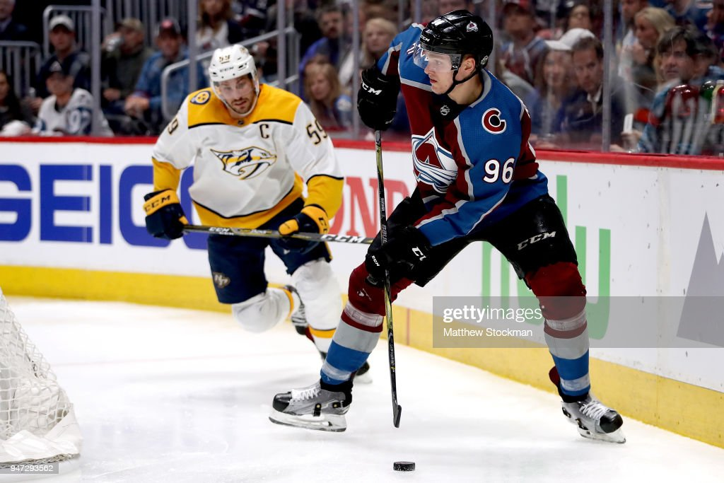 Mikko Rantanen #96 of the Colorado Rockies looks for an opening on goal against Roman Josi #59 of the Nashville Predators in Game Three of the Western Conference First Round during the 2018 NHL Stanley Cup Playoffs at the Pepsi Center on April 16, 2018 in Denver, Colorado.