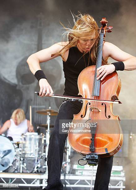 Mikko Siren and Eicca Toppinen of Apocalyptica performs on stage on the second day of Bloodstock Open Air festival at Catton Hall on August 15 2009...