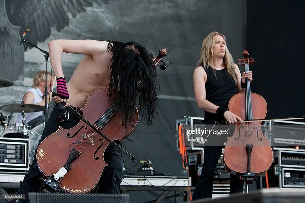 Mikko Siren, Perttu Kivilaakso and Eicca Toppinen of Finnish symphonic metal band Apocalyptica perform onstage during the 2010 Rock On The Range festival at Crew Stadium on May 23, 2010 in Columbus, Ohio.
