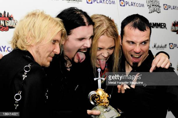 Mikko Siren Perttu Kivilaakso Eicca Toppinen and Paavo Lotjonen of Finnish symphonic metal group Apocalyptica taken on June 6 2008 at the Golden Gods...