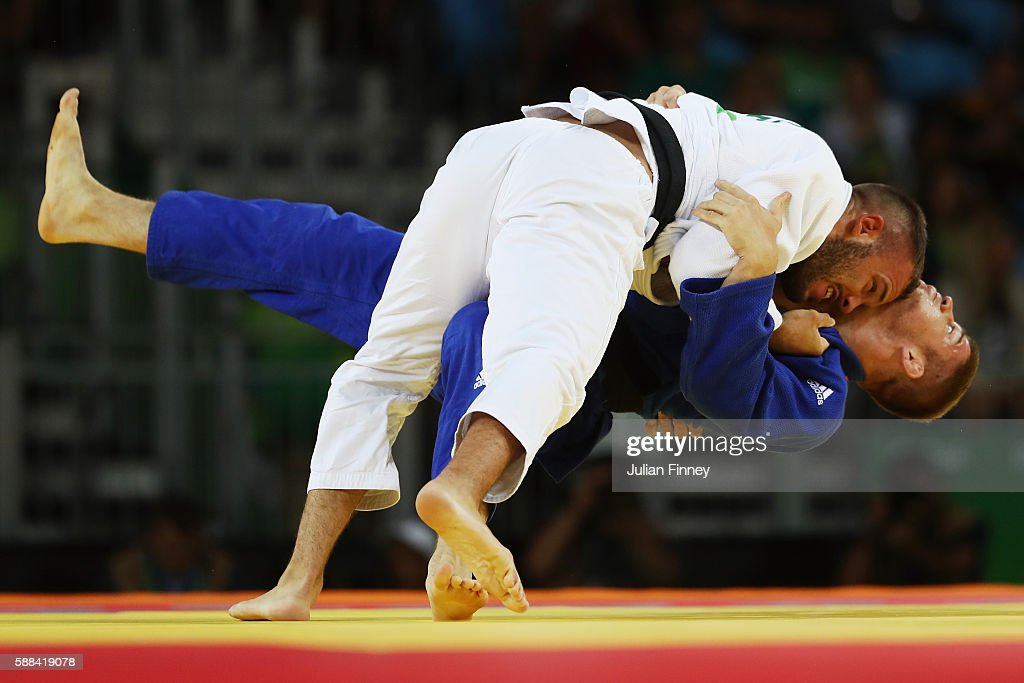 Miklos Cirjenics of Hungary competes against Karl-Richard Frey of Germany during the men's -100kg elimination round judo contest on Day 6 of the 2016 Rio Olympics at Carioca Arena 2 on August 11, 2016 in Rio de Janeiro, Brazil.