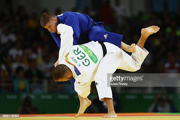 Miklos Cirjenics of Hungary competes against KarlRichard Frey of Germany during the men's 100kg elimination round judo contest on Day 6 of the 2016...
