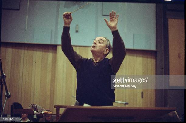 Miklos Rosza conducts during a recording session at Abbey Road Studios, London, 1976.