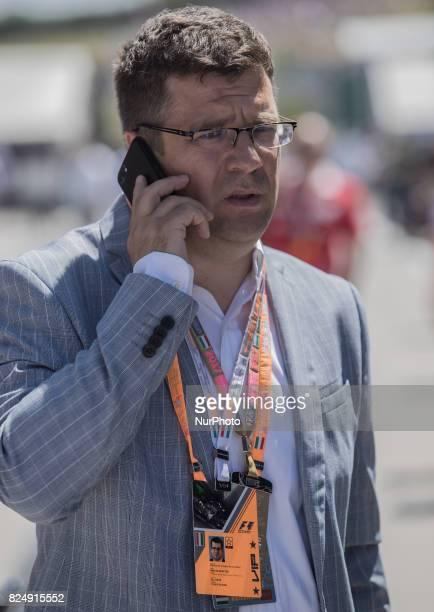 Miklos Seszták Miniszter of Hungarian Development arrives to paddock at Pirelli Hungarian Formula 1 Grand Prix on Jul 30 2017 in Mogyoród Hungary
