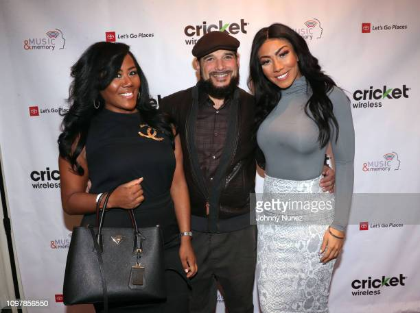 Miko Branch Phillip Bloch and Bridget Kelly attend the Bryan Michael Cox 15th Annual Music Memory PreGrammy Brunch at SLS Hotel at Beverly Hills on...