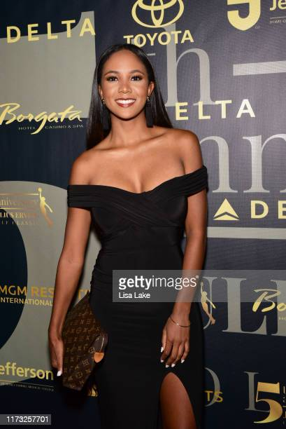 Miko Page walks the red carpet during the Julius Erving Red Carpet and Pairings Party at Premier Night Club at the Borgata Hotel Casino Spa on...