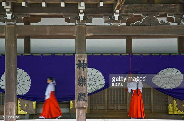 Miko Shrine Maidens at Ise Jingu Shrine in Mie Prefecture, Japan