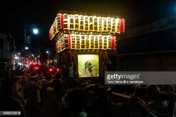 Mikoshi festival in Kamakura in Japan in the night
