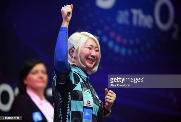 Mikuru Suzuki of Japan celebrates victory after the match between Mikuru Suzuki and Anastasia Dobromyslova on Day Six of the BDO Darts Championships...