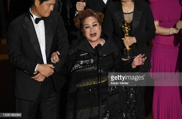 Miky Lee accepts the Best Picture award for 'Parasite' onstage during the 92nd Annual Academy Awards at Dolby Theatre on February 09 2020 in...