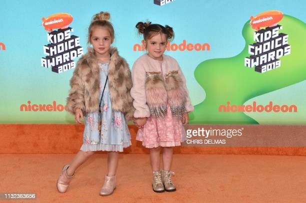 Mila and Emma Stauffer arrive for the 32nd Annual Nickelodeon Kids' Choice Awards at the USC Galen Center on March 23 2019 in Los Angeles
