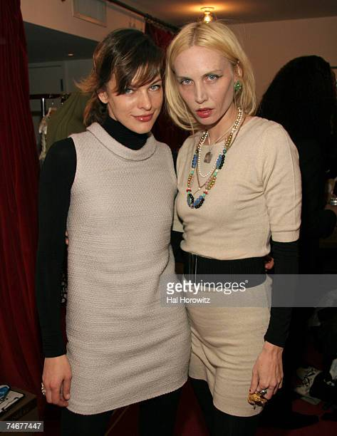 Mila Jovovich and Carmen Hawk backstage at JovovichHawk Fall 2007 at the Gramercy Park Hotel in New York City New York