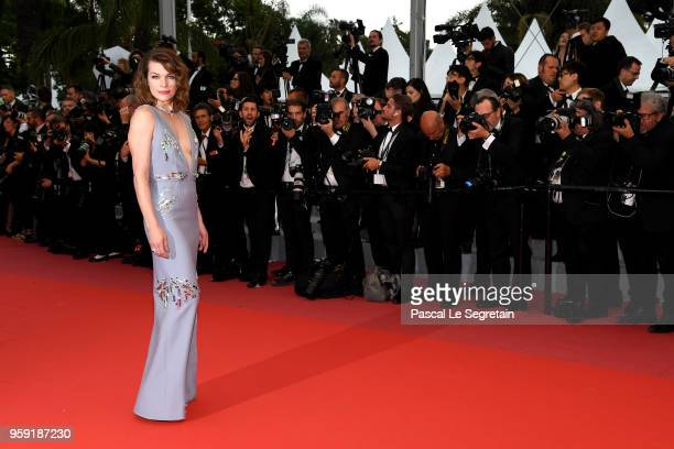 Mila Jovovich attends the screening of 'Burning' during the 71st annual Cannes Film Festival at Palais des Festivals on May 16 2018 in Cannes France