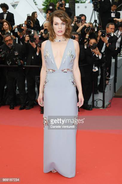 Mila Jovovich attends the screening of Burning during the 71st annual Cannes Film Festival at Palais des Festivals on May 16 2018 in Cannes France