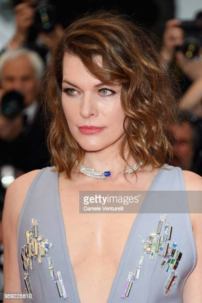 """Mila Jovovich attends the screening of """"Burning"""" during the 71st annual Cannes Film Festival at Palais des Festivals on May 16, 2018 in Cannes,..."""