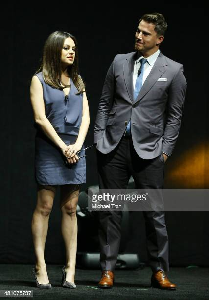 Mila Kunis and Channing Tatum speak onstage during Warner Bros Pictures' The Big Picture an Exclusive Presentation at Cinemacon 2014 Day 4 held at...