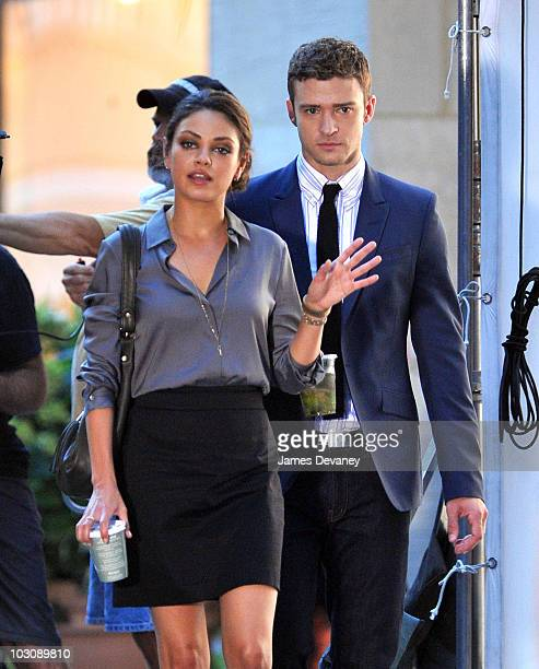 Mila Kunis and Justin Timberlake on location for Friends With Benefits at Rockefeller Center on July 24 2010 in New York City