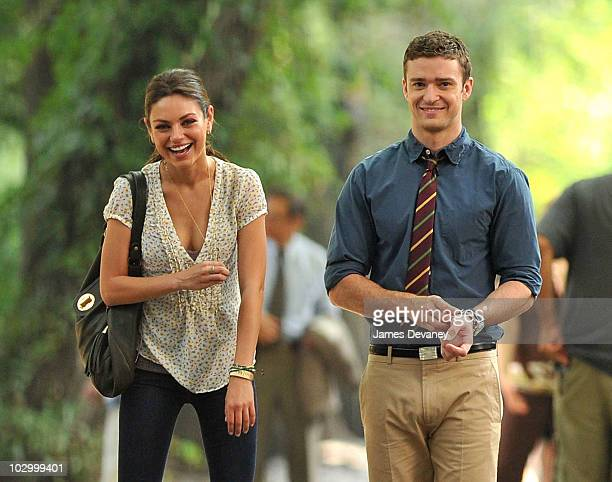 Mila Kunis and Justin Timberlake on location for Friends With Benefits on 5th Avenue on July 20 2010 in New York City