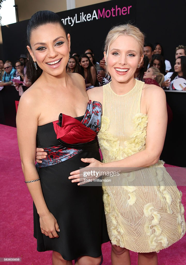 Mila Kunis and Kristen Bell attend the premiere Of STX Entertainment's 'Bad Moms' at Mann Village Theatre on July 26, 2016 in Westwood, California.