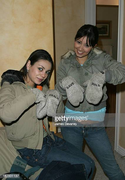 Mila Kunis and Marilyn Valderrama with Save the Seals mittens