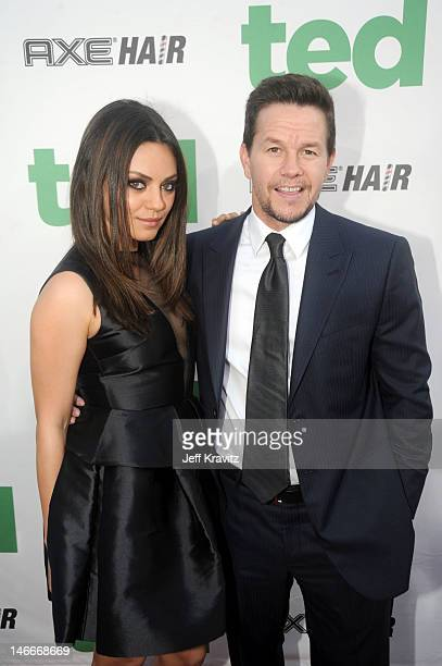 Mila Kunis and Mark Wahlberg arrive for the premiere of 'Ted' at Grauman's Chinese Theatre on June 21 2012 in Hollywood California