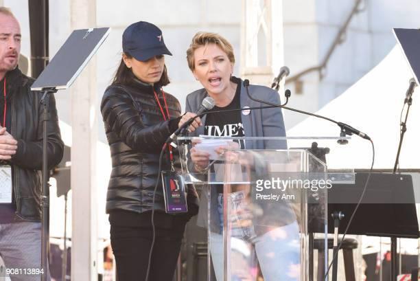 Mila Kunis and Scarlett Johansson attend Women's March Los Angeles 2018 on January 20 2018 in Los Angeles California