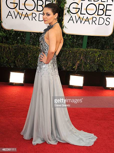 Mila Kunis arrives at the 71st Annual Golden Globe Awards at The Beverly Hilton Hotel on January 12 2014 in Beverly Hills California