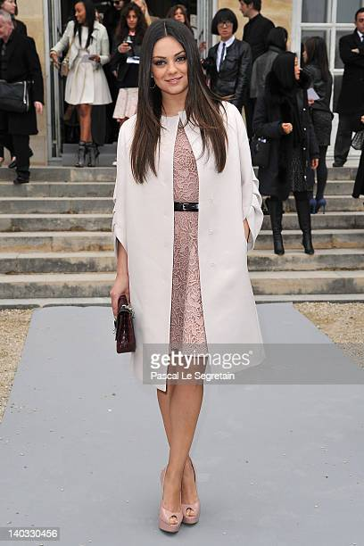 Mila Kunis attends the Christian Dior ReadyToWear Fall/Winter 2012 show as part of Paris Fashion Week at Musee Rodin on March 2 2012 in Paris France