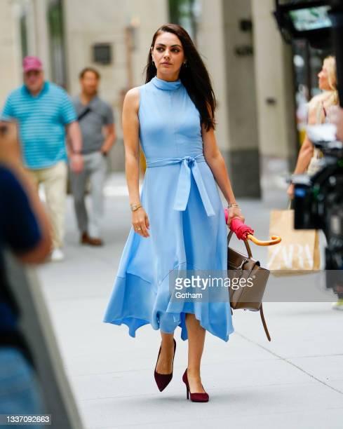 Mila Kunis films 'Luckiest Girl Alive' at Rockefeller Center on August 29, 2021 in New York City.