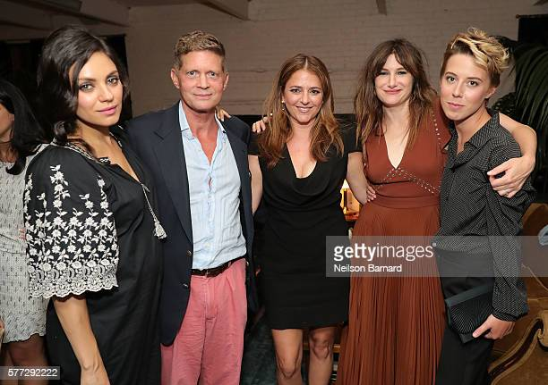 Mila Kunis guest Annie Mumolo Kathryn Hahn and President of STX Entertainment Sophie Watts attend the after party for the Bad Moms premiere at...