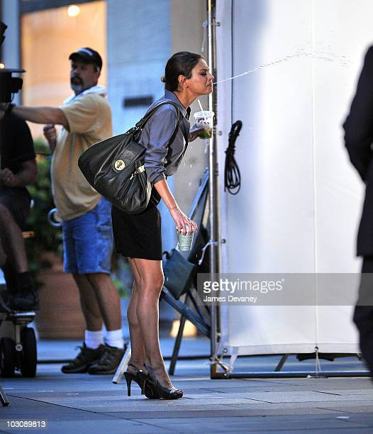 Mila Kunis on location for 'Friends With Benefits' at Rockefeller Center on July 24 2010 in New York City