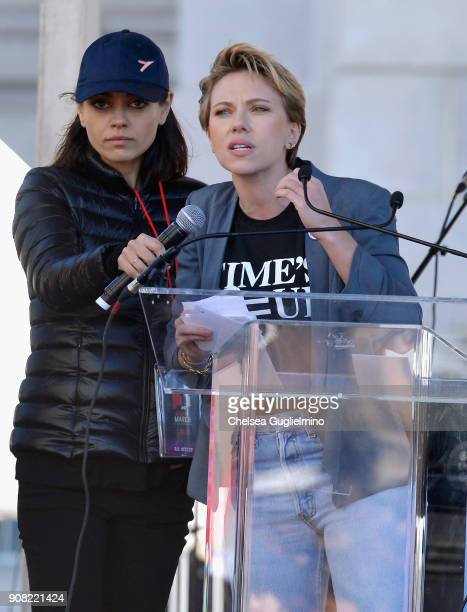 Mila Kunis supports Scarlett Johansson as she speaks during the Women's March Los Angeles 2018 on January 20 2018 in Los Angeles California