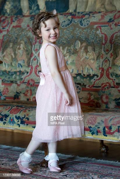 Mila Sneddon, aged five after meeting Catherine, Duchess of Cambridge at the Palace of Holyroodhouse on May 27, 2021 in Edinburgh, Scotland. Cancer...