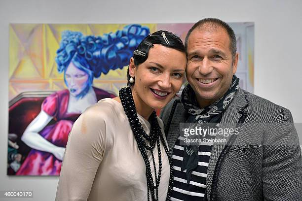 Mila Wiegand and Kai Ebel pose during their 'sucker punch' vernissage at von fraunberg art gallery on December 5 2014 in Duesseldorf Germany