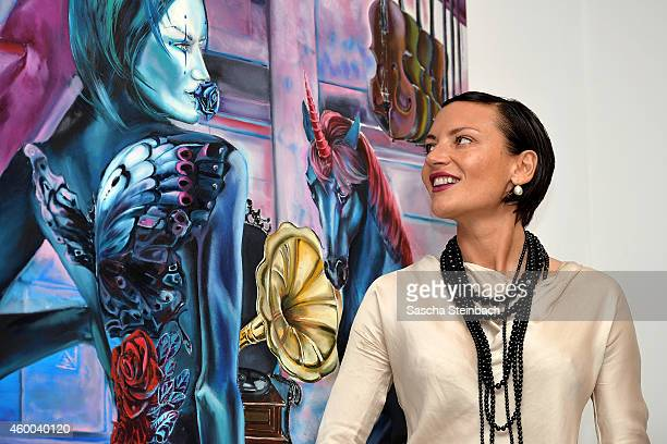 Mila Wiegand poses during the 'sucker punch' vernissage of Mila Wiegand and Kai Ebel at von fraunberg art gallery on December 5 2014 in Duesseldorf...